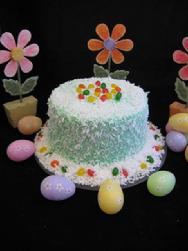 Click here to enlarge picture of decorating suggestion for Green Coconut Cake