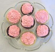 Cherry Mousse Topped Chocolate and Vanilla Cupcakes on glass serving platter