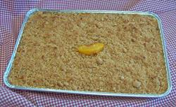 Foil Pan of Peach Crisp, on checked tablecloth